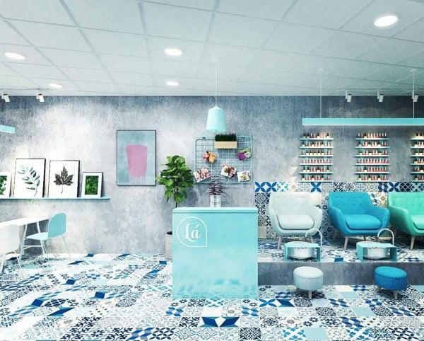 Industrial Nail Salon Design
