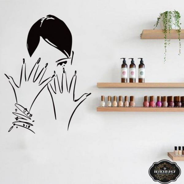 Woman Nails Nails Salon Wall Sticker